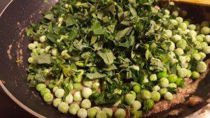 Add the peas and methi in methi mattar malai recipe