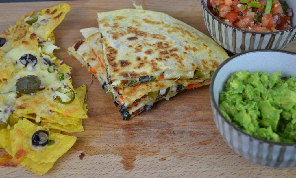 Vegetarian Quesadillas Recipe, Nachos, Guacamole and salsa