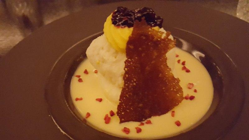 Mango Rasmalai alphonso mango pulp, mixed berry chutney & wheat biscuit base